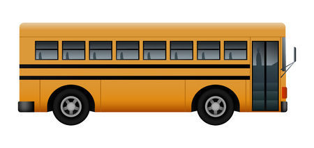Side of school bus mockup. Realistic illustration of side of school bus vector mockup for web design isolated on white background