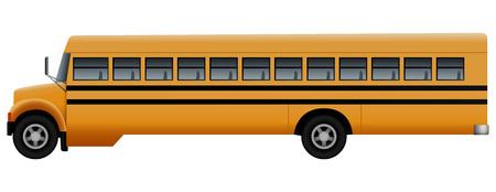 Seite des langen Schulbusmodells. Realistische Illustration der Seite des langen Schulbusvektormodells für Webdesign lokalisiert auf weißem Hintergrund