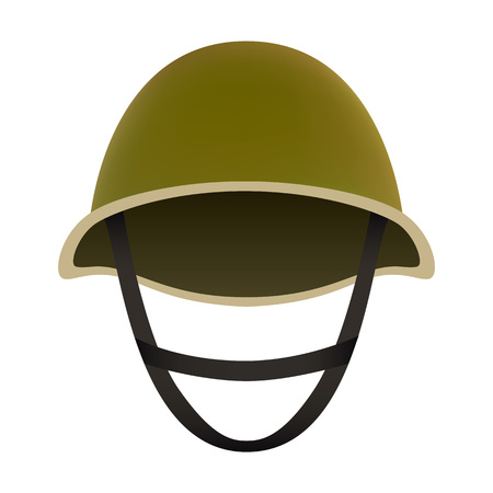 Front of camo helmet mockup. Realistic illustration of front of camo helmet vector mockup for web design isolated on white background
