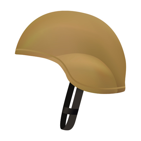 Desert color army helmet mockup. Realistic illustration of desert color army helmet vector mockup for web design isolated on white background