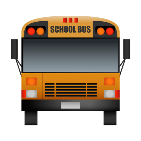 Front of modern school bus mockup. Realistic illustration of front of modern school bus vector mockup for web design isolated on white background