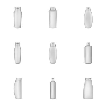 Packing shampoo icons set. Cartoon set of 9 packing shampoo vector icons for web isolated on white background Иллюстрация