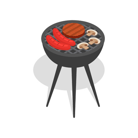 Food on bbq stand icon. Isometric of food on bbq stand vector icon for web design isolated on white background