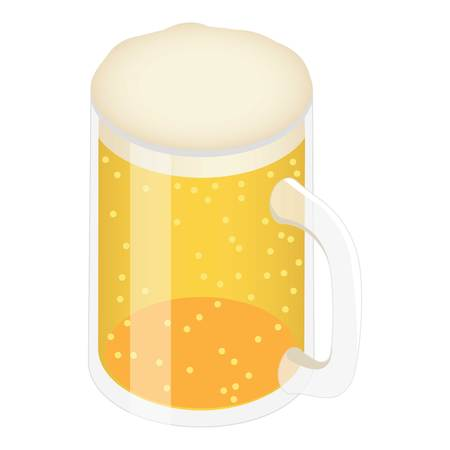 Beer mug icon. Isometric of beer mug vector icon for web design isolated on white background Çizim