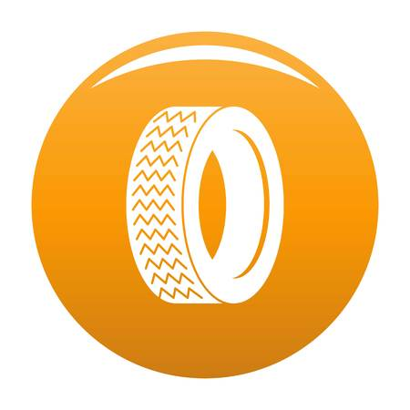 Vehicle tire icon vector orange Illustration