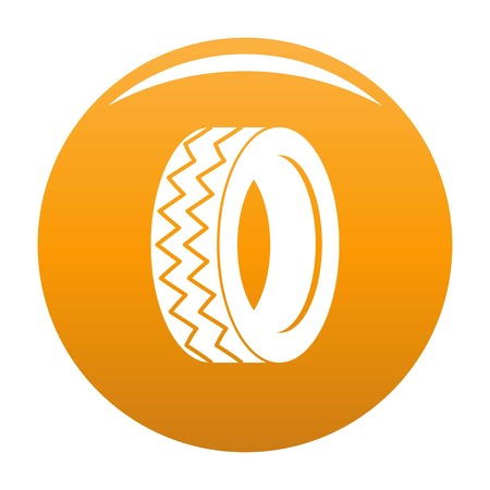 Round tire icon vector orange