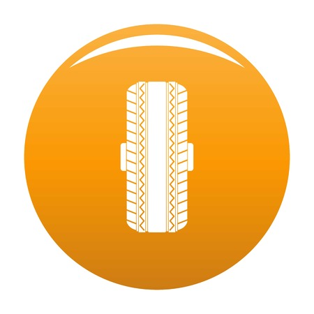 Rubber tyre icon vector orange Illustration