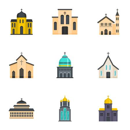 Place of worship icons set. Cartoon set of 9 place of worship vector icons for web isolated on white background Illustration