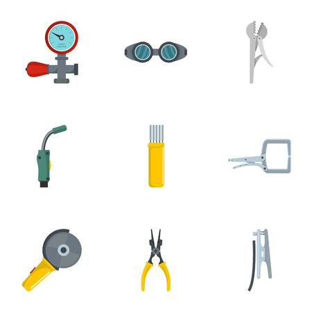 Sanitary engineering icons set. Cartoon set of 9 sanitary engineering vector icons for web isolated on white background Çizim