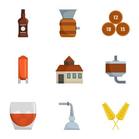 Alcohol distillation icons set. Cartoon set of 9 alcohol distillation vector icons for web isolated on white background