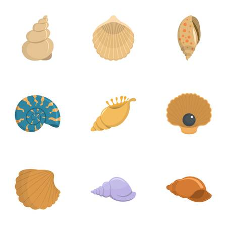 Conch icons set, cartoon style Illustration