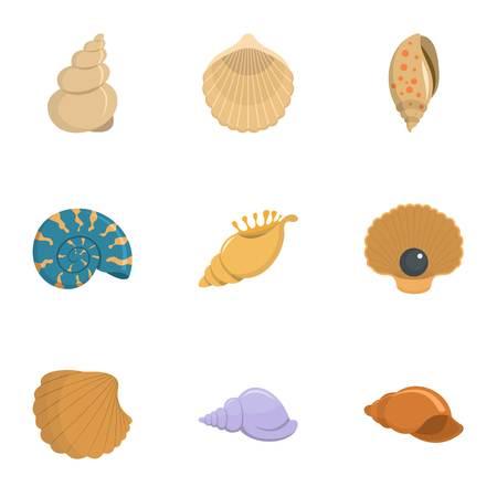 Conch icons set, cartoon style Ilustrace