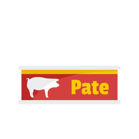 Pate tin can icon. Flat illustration of pate tin can icon for web isolated on white