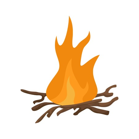 Bbq fire icon, flat style