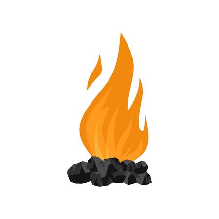 Coal fire icon. Flat illustration of coal fire icon for web isolated on white