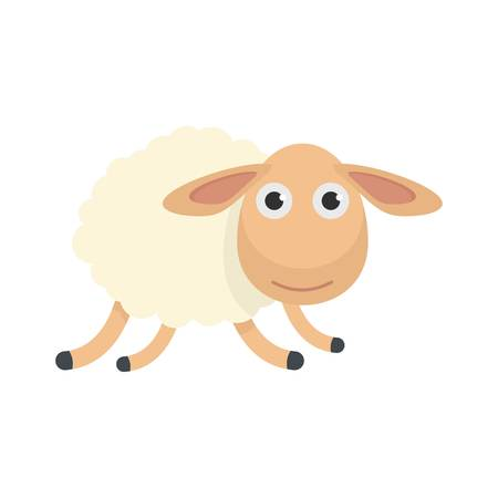 Running sheep icon, flat style