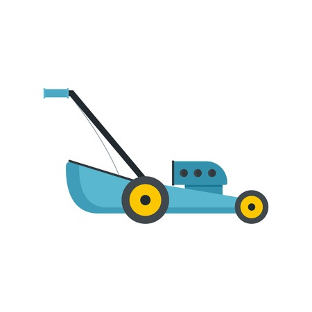 Blue lawn mower icon, flat style
