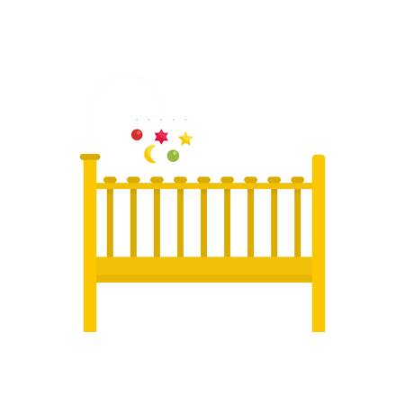 Baby bed icon, flat style Stock fotó