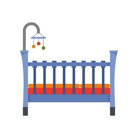 Baby crib icon, flat style