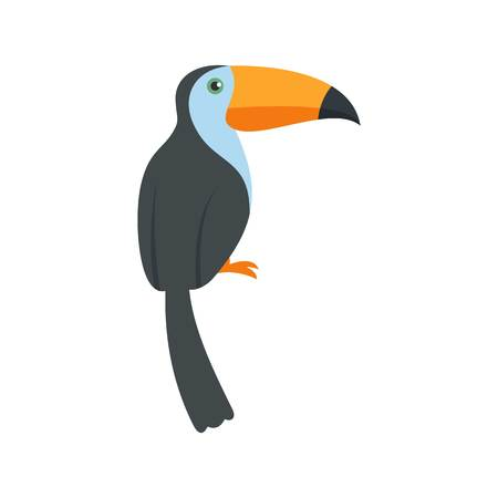 Exotic toucan icon, flat style