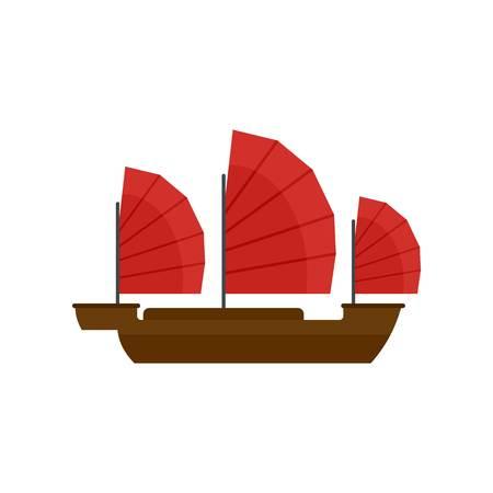 China ship icon, flat style
