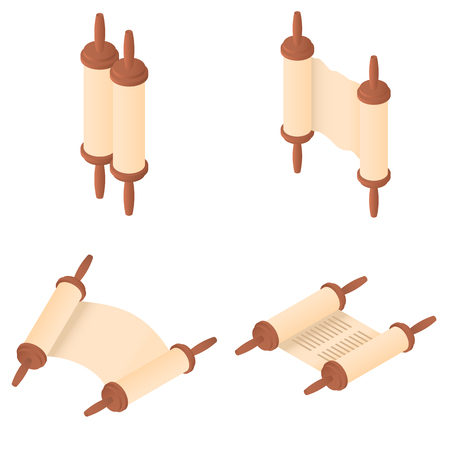 Torah scroll book bible shavuot icons set. Isometric illustration of 4 Torah scroll book bible shavuot vector icons for web