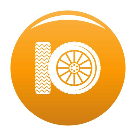Car tire icon. Simple illustration of car tire vector icon for any design orange