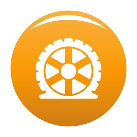 Auto tire icon. Simple illustration of auto tire vector icon for any design orange Stock Photo