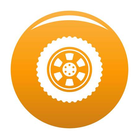 One tire icon. Simple illustration of one tire vector icon for any design orange Stock Photo