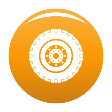 Tyre icon. Simple illustration of tyre vector icon for any design orange
