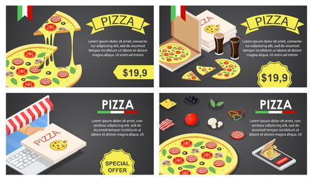 Pizza festival food party banner concept set. Isometric illustration of 4 pizza festival food party vector banner concepts for web