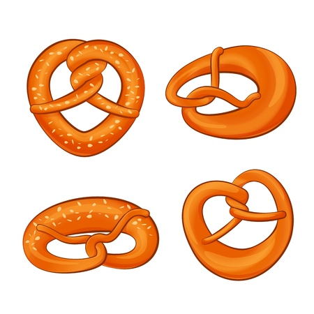 Pretzel oktoberfest icons set, cartoon style Çizim