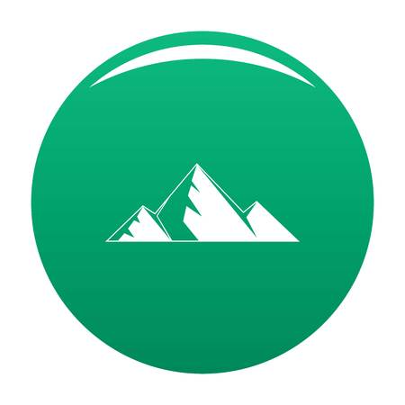 Mountain peak icon vector green