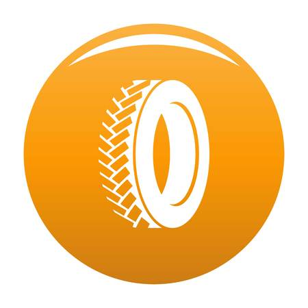 One tyre icon vector orange