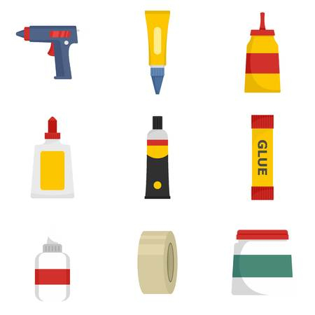 Glue stick adhesive icons set. Flat illustration of 9 glue stick adhesive icons isolated on white