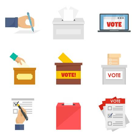 Ballot voting box vote polling icons set. Flat illustration of 9 ballot voting box vote polling icons isolated on white