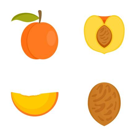 Peach tree slices fruit half icons set. Flat illustration of 4 peach tree slices fruit half icons isolated on white
