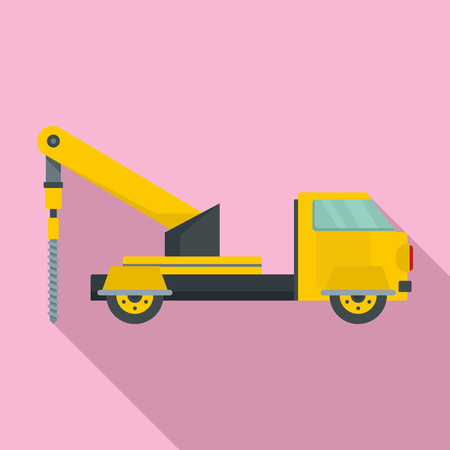 Truck drill icon. Flat illustration of truck drill icon for web design Stock Photo