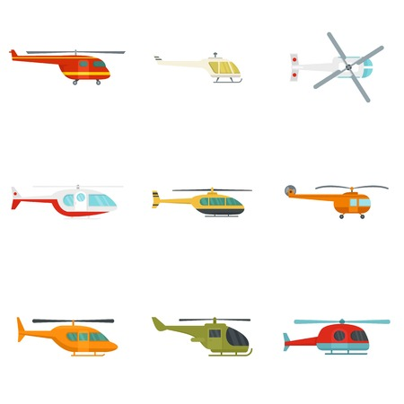 Helicopter military aircraft chopper icons set. Flat illustration of 9 helicopter military aircraft chopper icons isolated on white