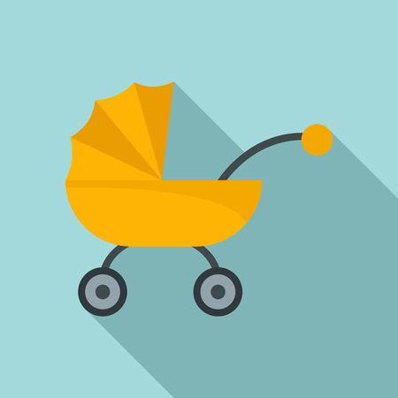Baby carriage icon. Flat illustration of baby carriage icon for web design
