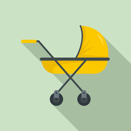 Modern baby carriage icon. Flat illustration of modern baby carriage icon for web design Stock Photo