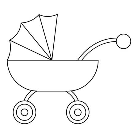 Baby carriage icon. Outline baby carriage icon for web design isolated on white background Stock Photo