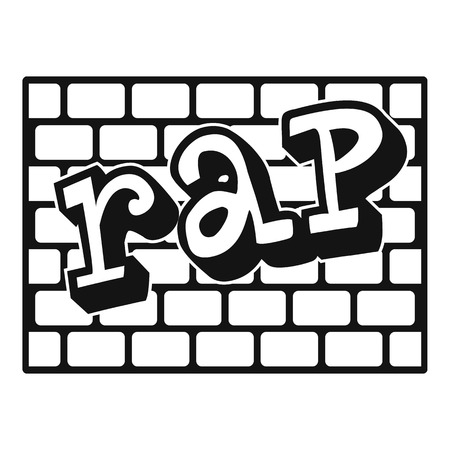 Rap bricks wall icon. Simple illustration of rap bricks wall icon for web design isolated on white background