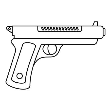 Gangster pistol icon. Outline gangster pistol icon for web design isolated on white background Foto de archivo