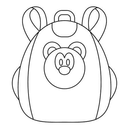 Cute bear backpack icon. Outline cute bear backpack icon for web design isolated on white background Banque d'images
