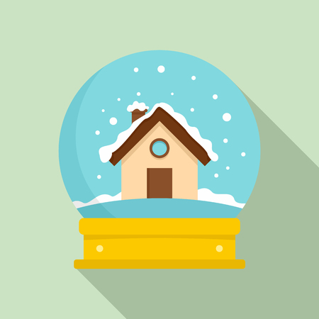 Wood house glass ball icon. Flat illustration of wood house glass ball icon for web design Stock Photo