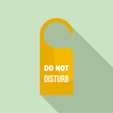 Room hanger disturb tag icon. Flat illustration of room hanger disturb tag icon for web design