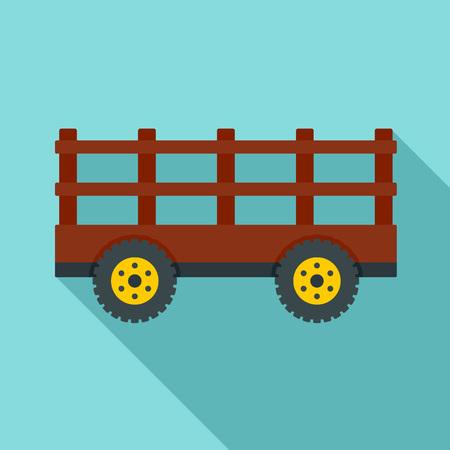 Farm tow icon, flat style 스톡 콘텐츠