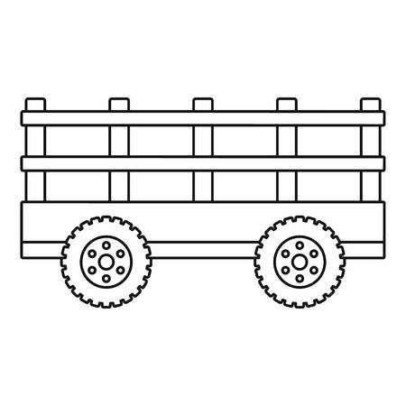 Trail tractor icon, outline style