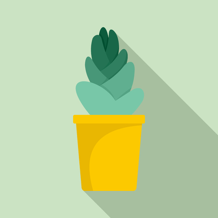 Sand cactus pot icon, flat style